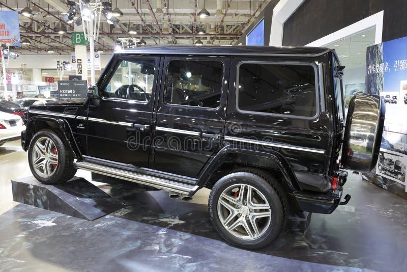 Het zwarte zijaanzicht van Mercedes g63 amg, toont in amoy stad, China royalty-vrije stock afbeelding