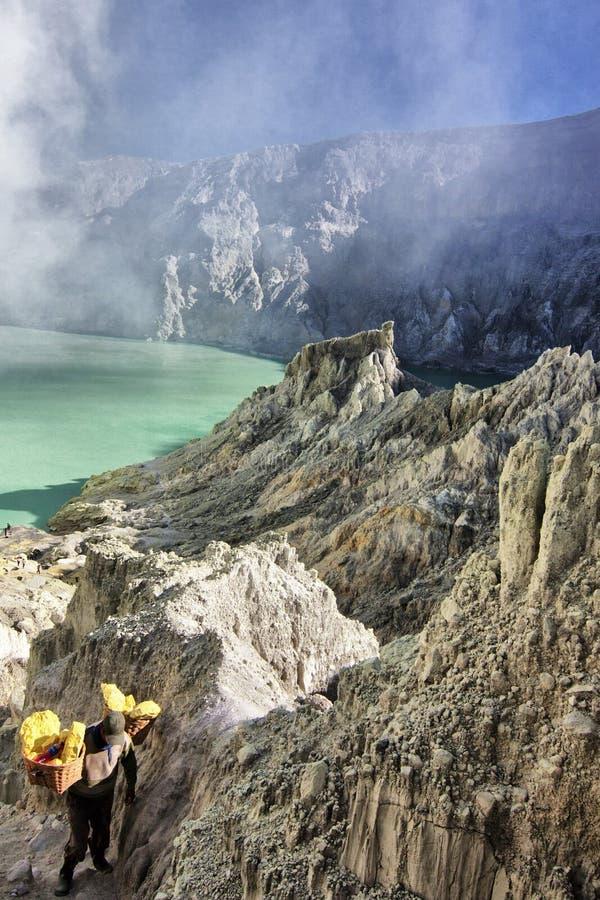 Het zwavelzuurmeer van Ijencrator stock fotografie