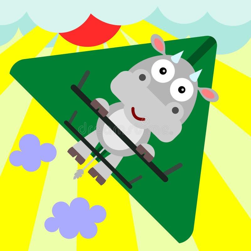 Het zweefvliegtuig van de koe stock illustratie