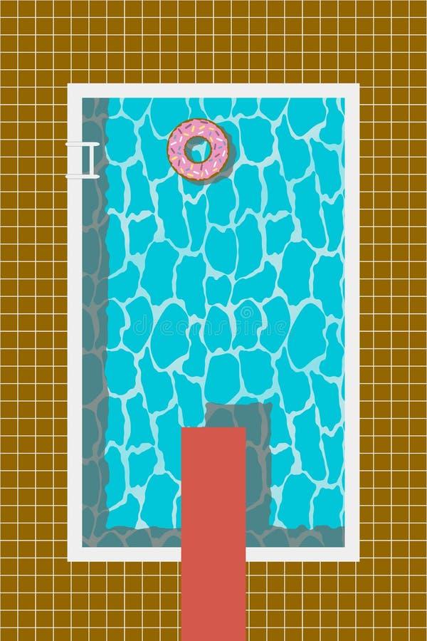 Het zwembad met opblaasbaar zwemt ring in doughnutvorm en springplank voor sprong Vector stock illustratie