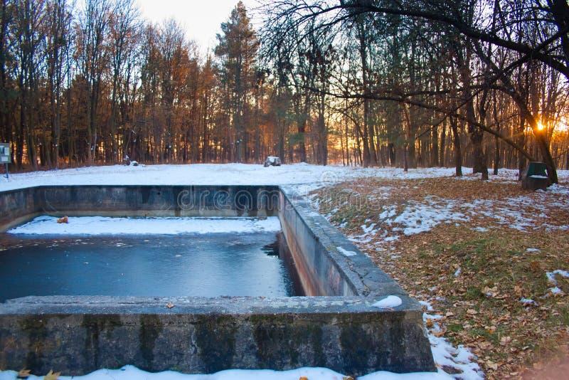 Het zwembad in Werwolf, ruïnes van het hoofdkwartier van Adolf Hitler ` s, vernietigt bestand concrete bunker, Stryzhavka, Vinnyt stock afbeeldingen