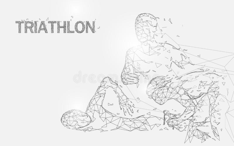 Het zwemmen, het cirkelen en het lopen in de vormlijnen van het triatlonspel, driehoeken en het ontwerp van de deeltjesstijl royalty-vrije illustratie