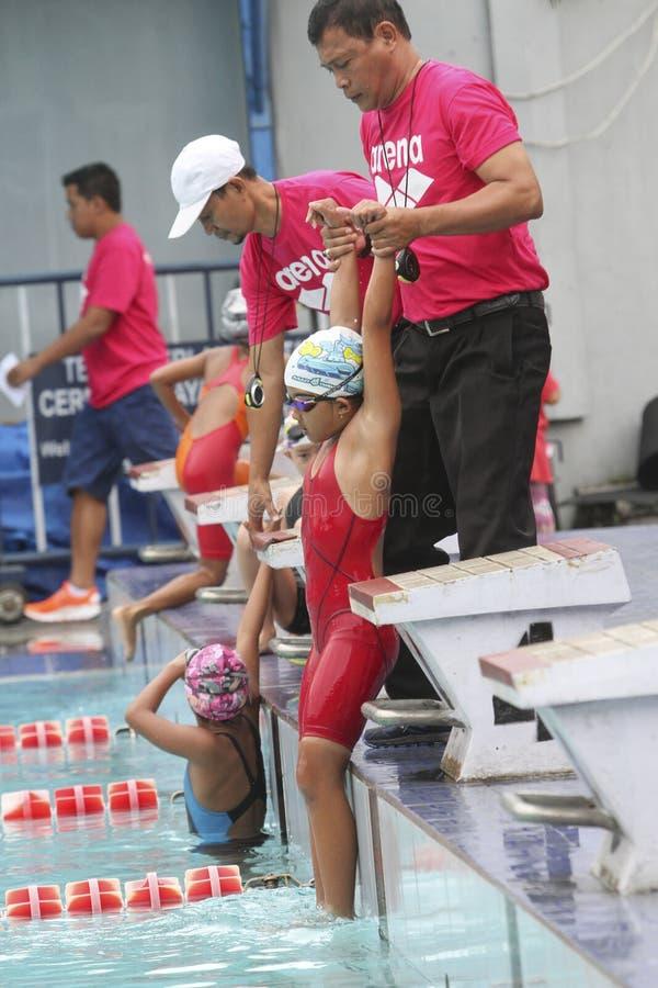 Het zwemmen competities stock foto's