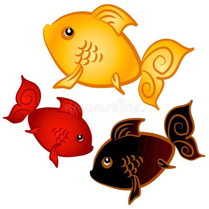 Het zwemmen het Art. van de Klem van de Goudvis vector illustratie