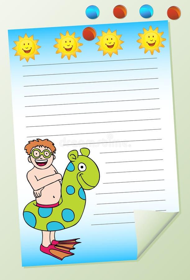 Het Zwemmen van de jongen Blocnote vector illustratie