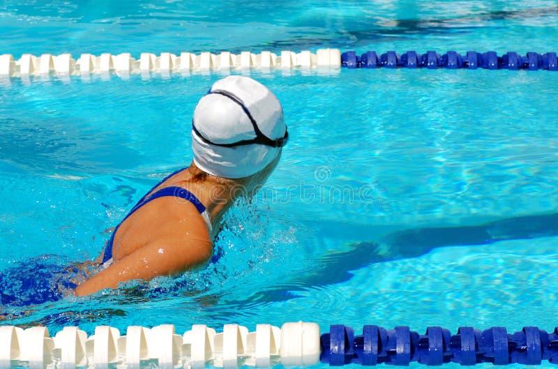 Het zwemmen van het kind schoolslag royalty-vrije stock foto's