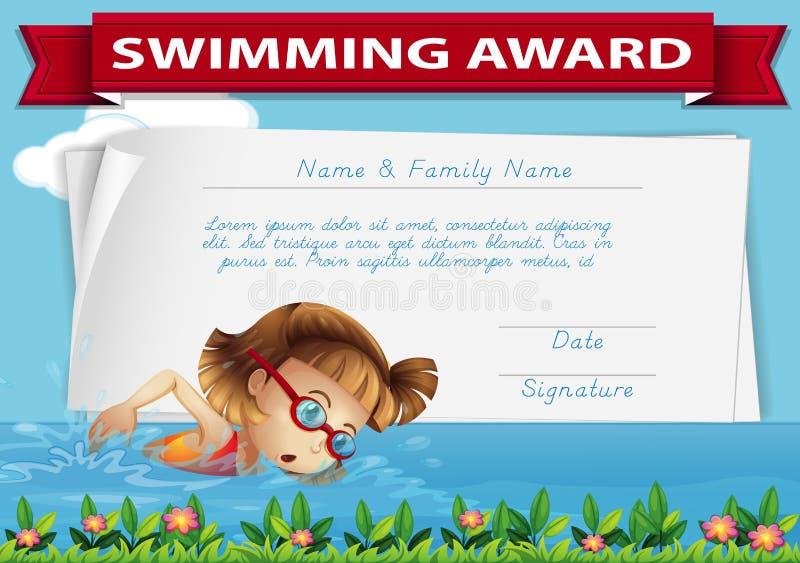 Het zwemmende malplaatje van het toekenningscertificaat vector illustratie