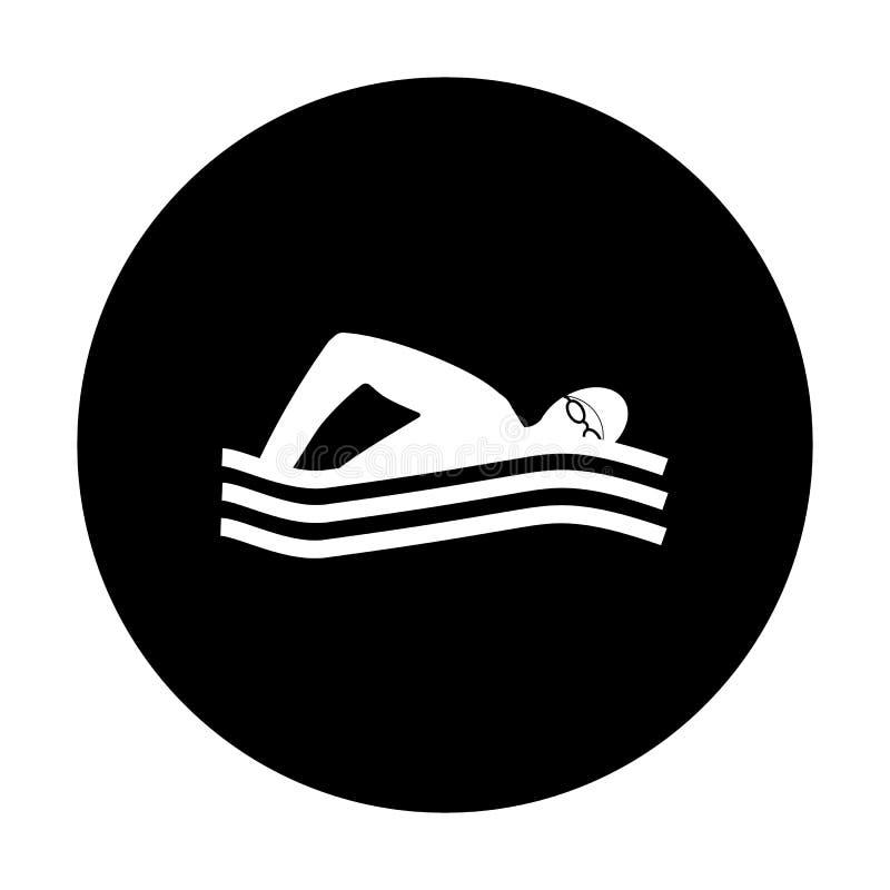 Het zwemmende pictogram, witte zwemmer op zwarte achtergrond, water zwemt sport Vector illustratie Zwemmend embleem, teken, emble vector illustratie