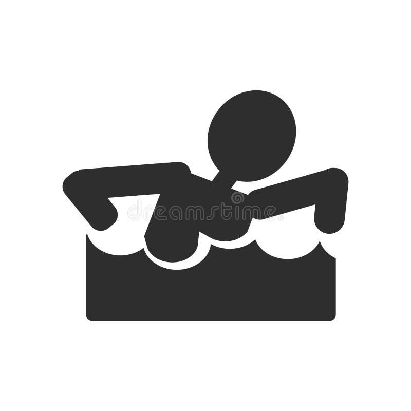 Het zwemmende teken en het symbool van het cijferpictogram vectordie op witte achtergrond, het Zwemmen het concept van het cijfer vector illustratie