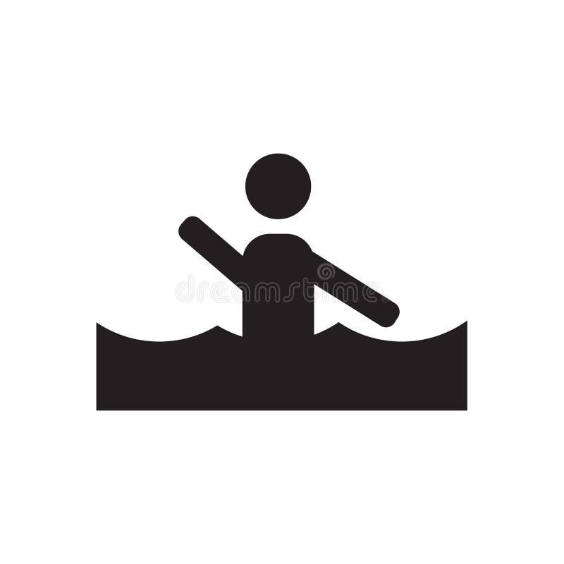 Het zwemmende vectordieteken en het symbool van het mensenpictogram op witte achtergrond, het Zwemmen het concept van het mensene vector illustratie