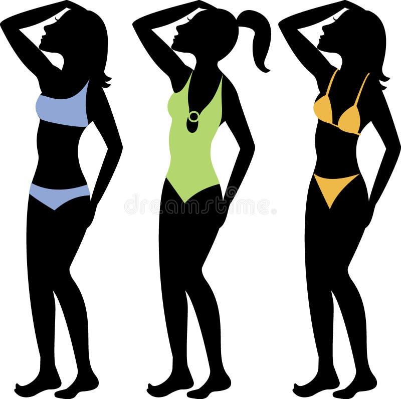 Het zwempak silhouetteert 3 stock illustratie