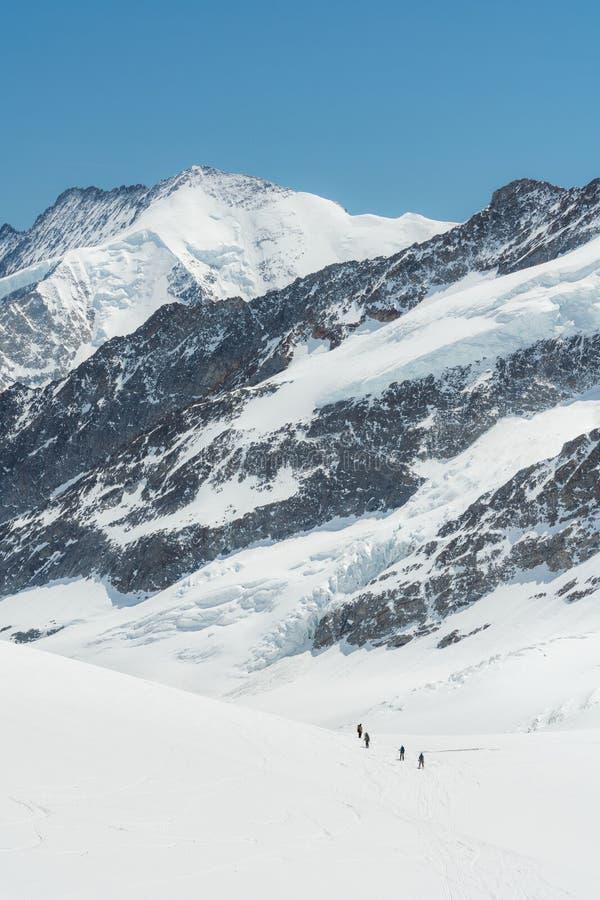 Het Zwitserse hoogtepunt van het de bergketenlandschap van Alpen van sneeuw in de winter, met groep reizigerstrekking aan top royalty-vrije stock foto's