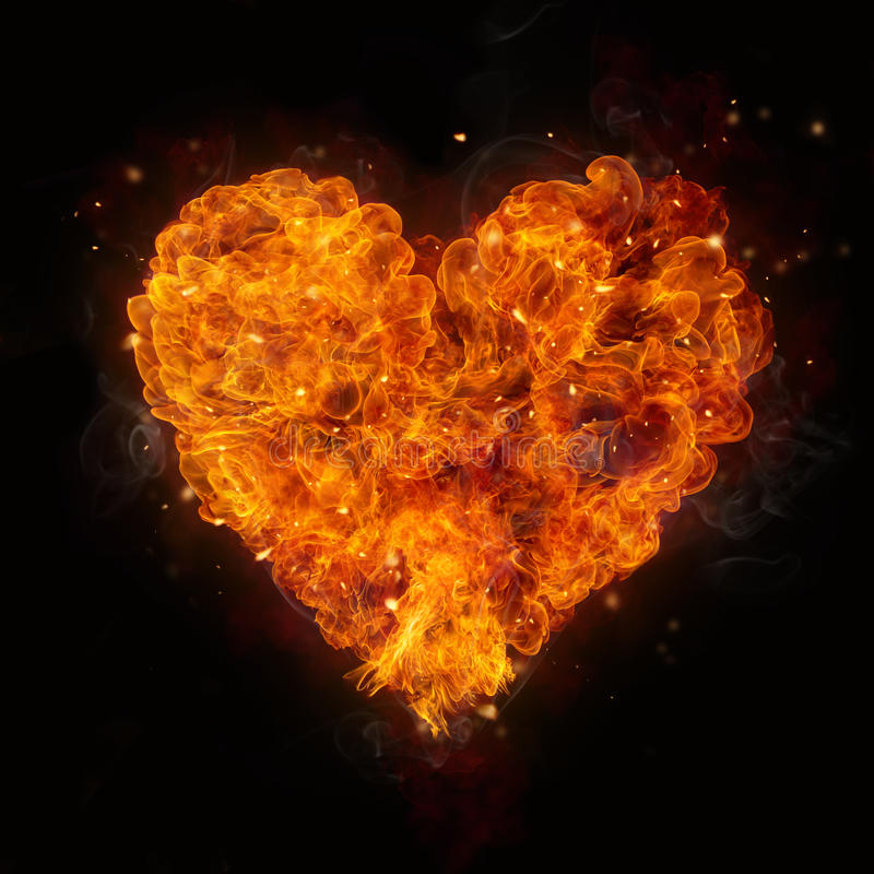 Hete brandenvlammen in hartvorm royalty-vrije stock foto
