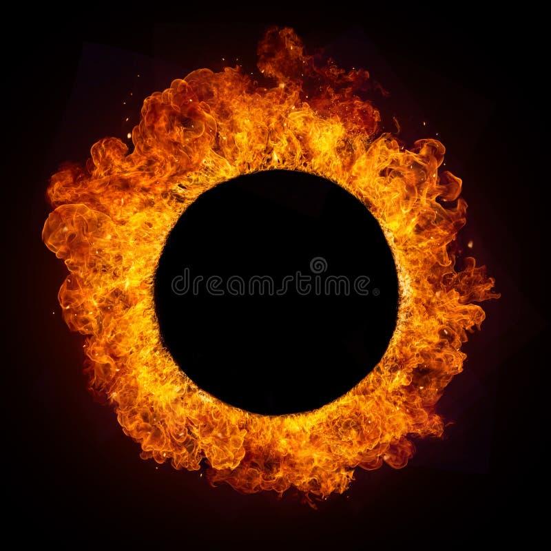 Hete brandenvlammen in ronde vorm royalty-vrije stock foto