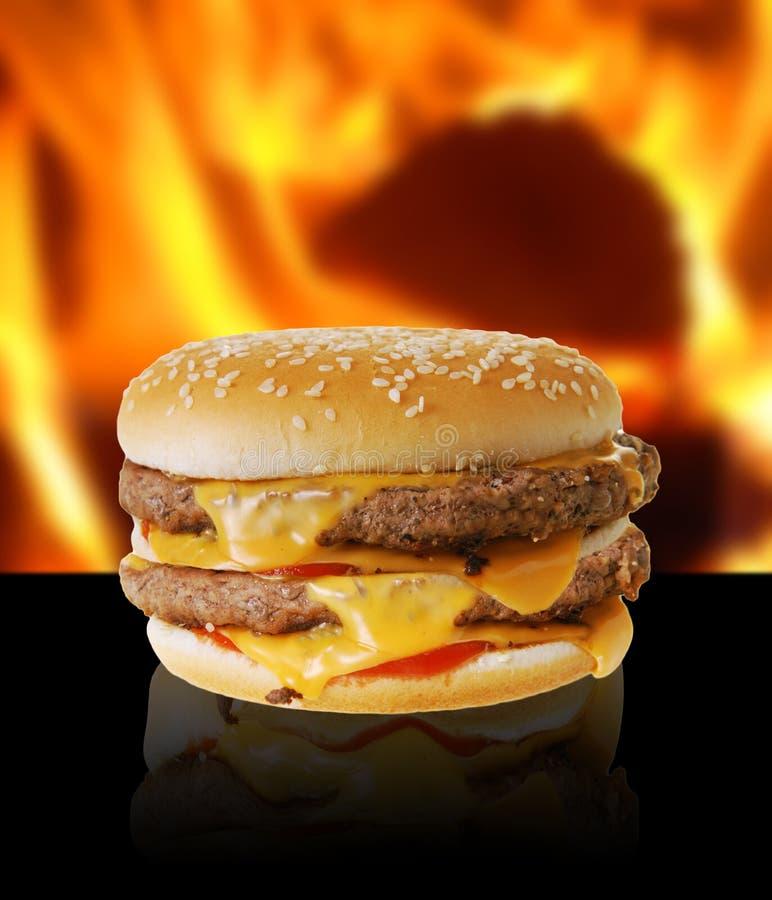 Hete cheeseburger stock foto's