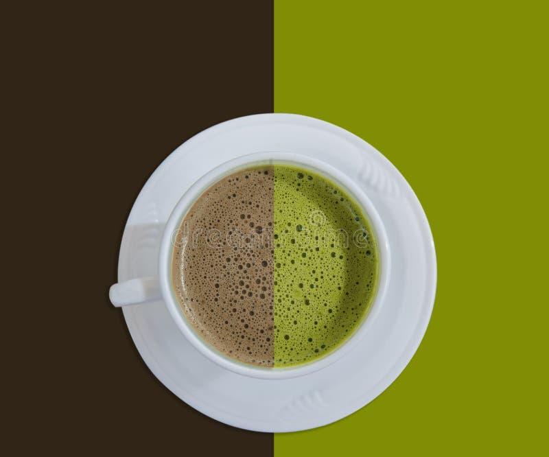 Hete chocolade en groene thee stock fotografie