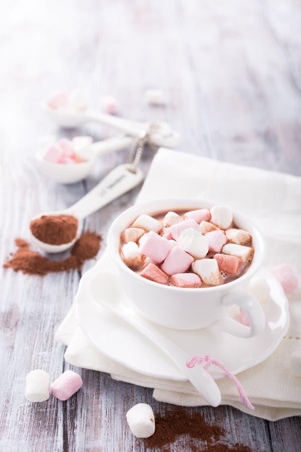 Hete chocolade met miniheemst royalty-vrije stock foto