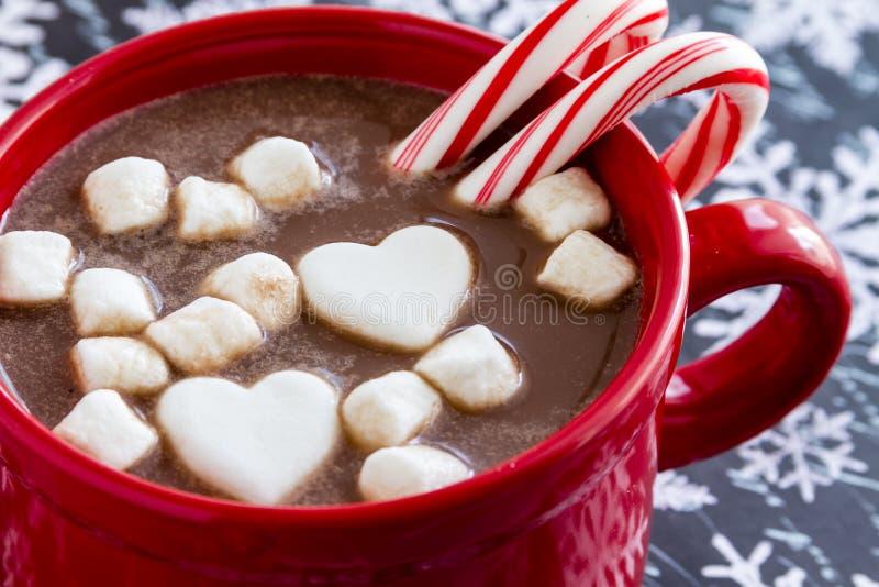 Hete Chocolade met Suikergoed en Koekjes royalty-vrije stock afbeelding
