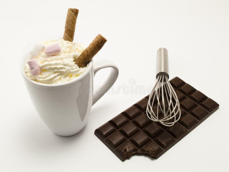 Hete chocoladeDrank met stevige chocolade stock fotografie