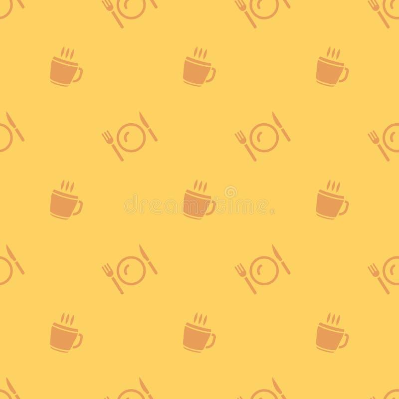 Hete de Drankkop van de maaltijdtijd en Bestek Naadloos Silhouet Backgrou stock illustratie