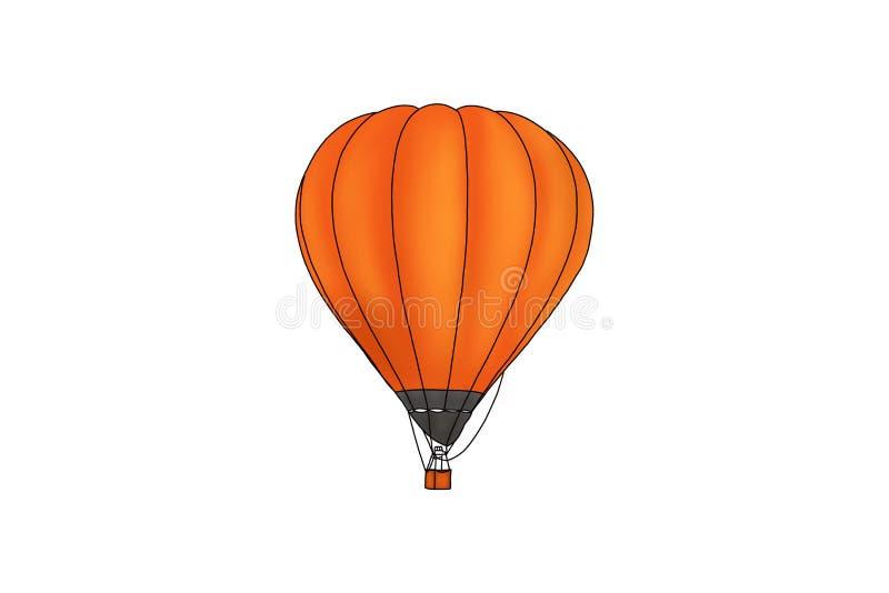 Hete die luchtballon op witte achtergrond wordt geïsoleerd royalty-vrije illustratie