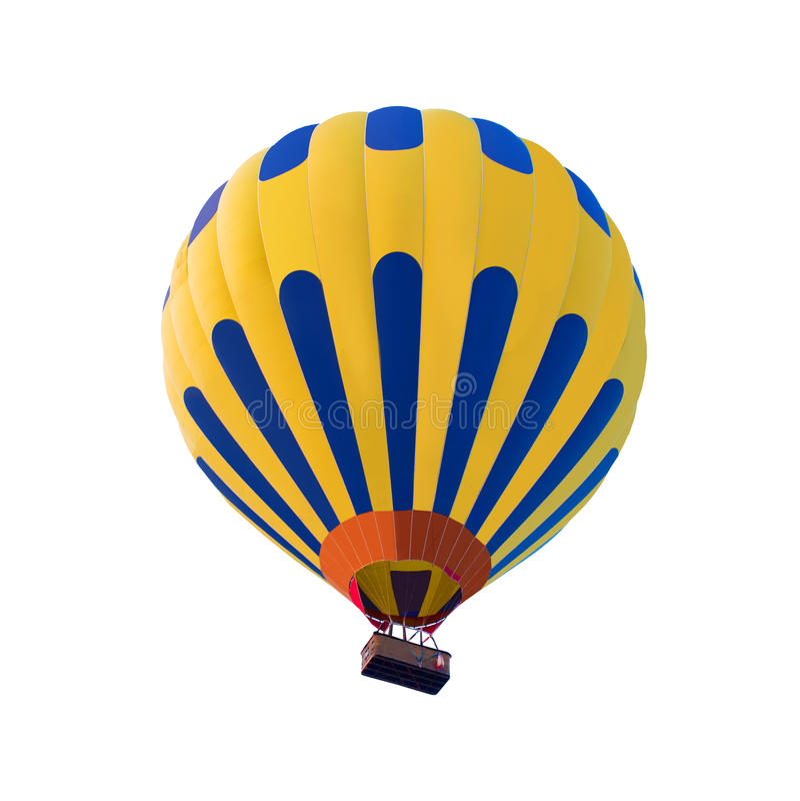 Hete die luchtballon op witte achtergrond wordt geïsoleerd stock afbeeldingen