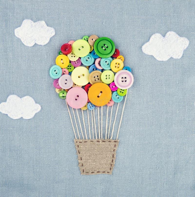 Hete die luchtballon van multicolored buttons1 wordt gemaakt stock foto