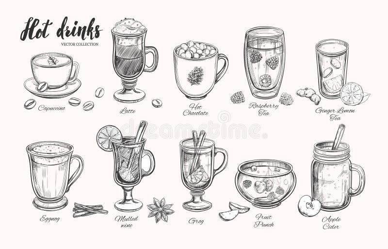 Hete dranken De vectorinzameling van de Kerstmiswinter Verschillende dranken in schetsstijl Koffie, Thee, Overwogen wijn, Stempel royalty-vrije illustratie