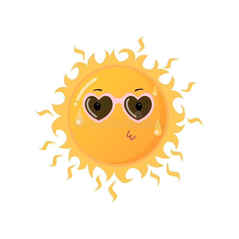 Hete gele zon in hart-vormige zonnebril die de sticker verzenden van kusemoji die op wit wordt geïsoleerd vector illustratie