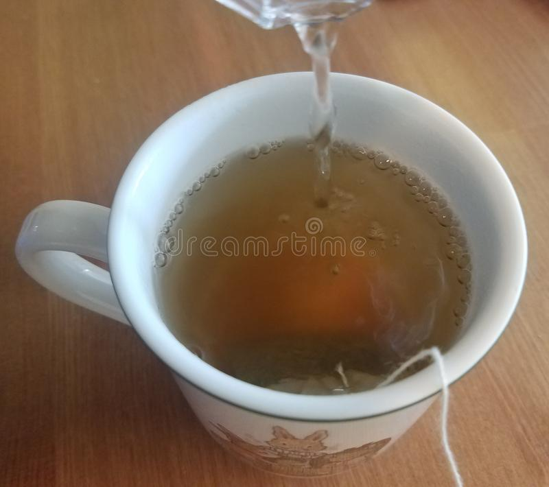 Hete groene thee die in een witte kop worden gebrouwen stock fotografie