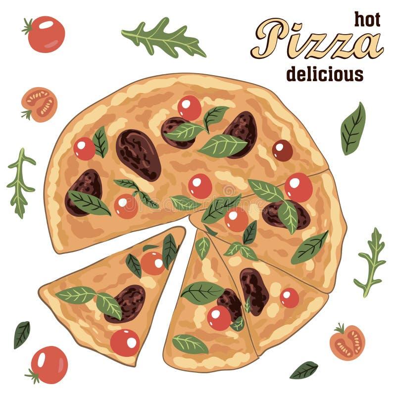 Hete heerlijke Italiaanse pizza en ingrediënten vector illustratie