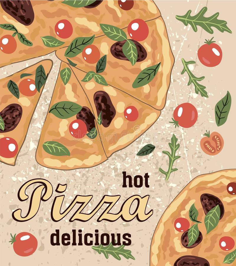 Hete heerlijke Italiaanse pizza en ingrediënten stock illustratie