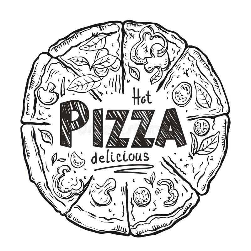 Hete heerlijke Italiaanse pizza op een witte achtergrond stock illustratie