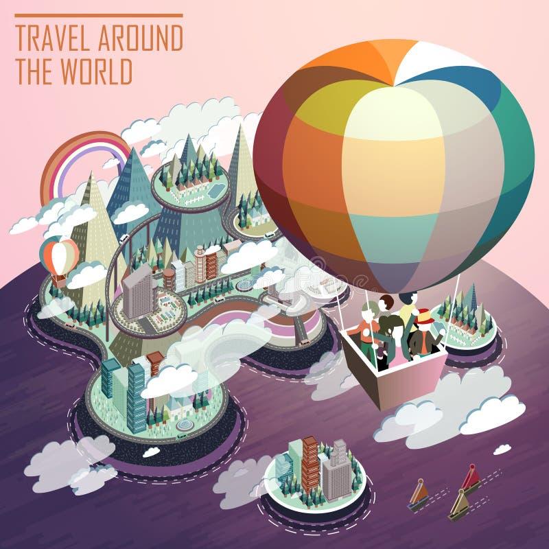 Hete het toerisme vlak 3d isometrische infographic van de luchtballon royalty-vrije illustratie