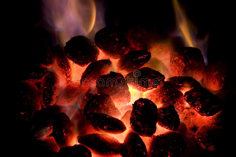 Hete houtskool stock fotografie