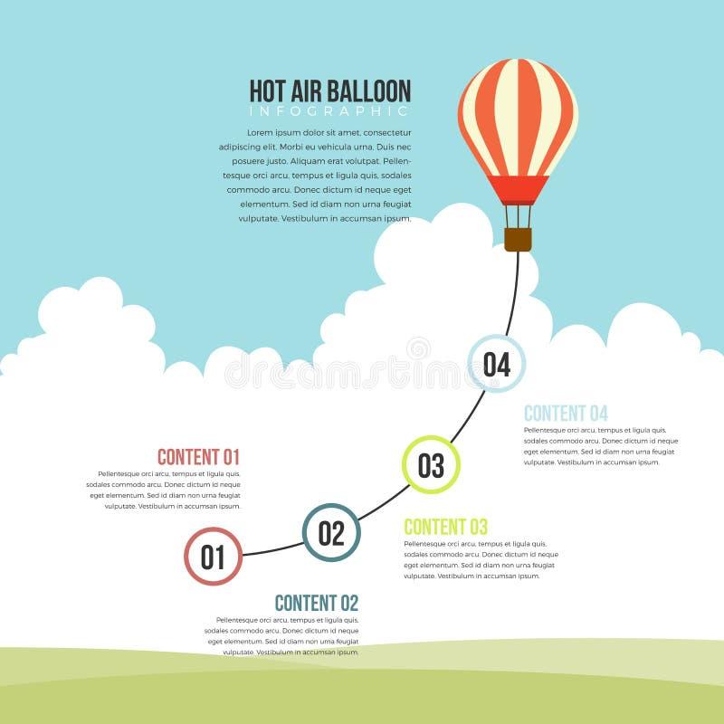 Hete infographic luchtballon royalty-vrije illustratie