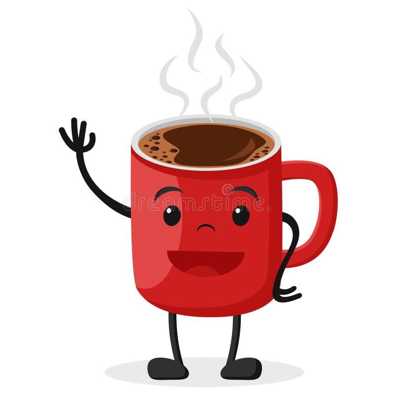 Hete koffie in een Kop, het glimlachen en het golven vector illustratie