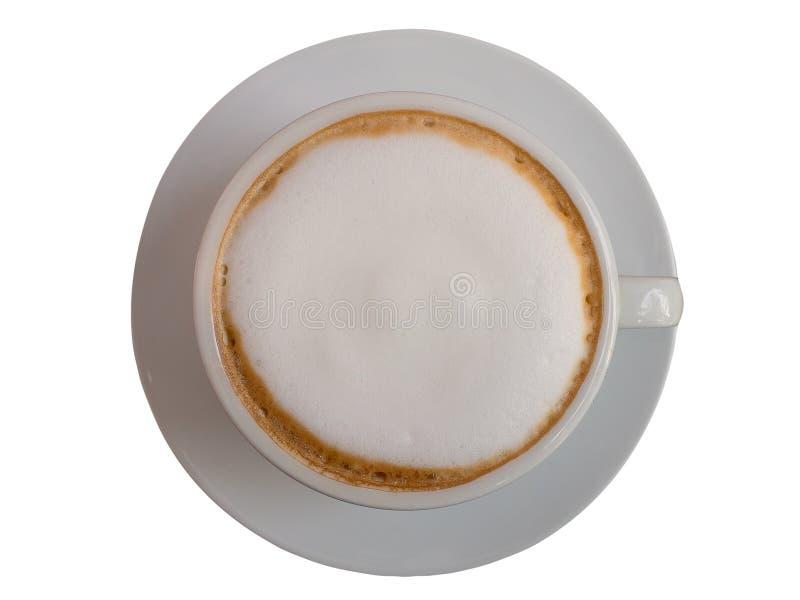 Hete koffie met schuimmelk Dit heeft het knippen weg stock fotografie