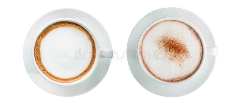 Hete koffie met schuimmelk en cacaodrank royalty-vrije stock fotografie