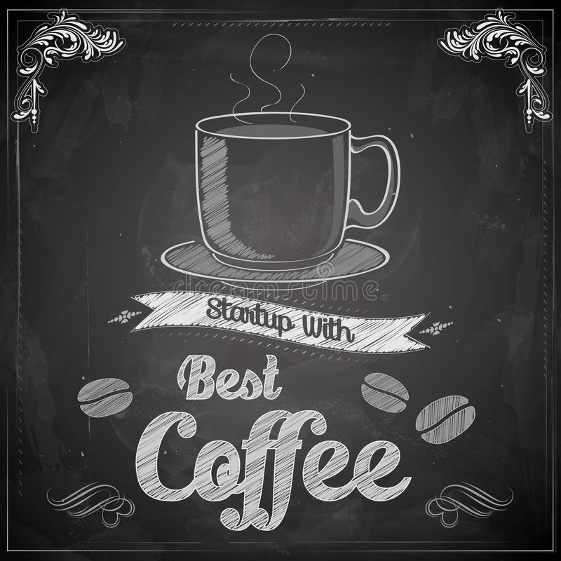 Hete Koffie op bord stock illustratie