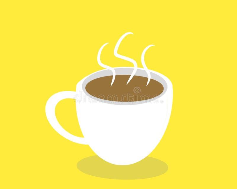 Hete Koffie op gele achtergrond royalty-vrije stock afbeeldingen