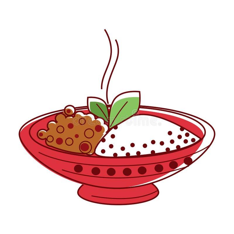 Hete lamskerrie met riceandkruiden in grote kom royalty-vrije illustratie