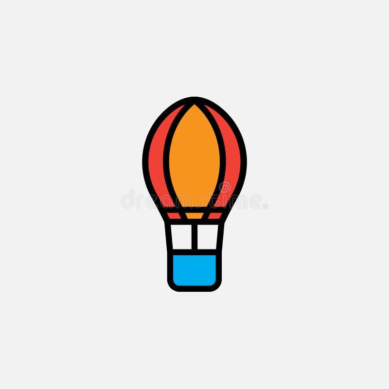 Hete lucht baloon pictogram, illustratie van het overzichts de vectorembleem, gevuld kleuren lineair die pictogram op wit wordt g stock illustratie