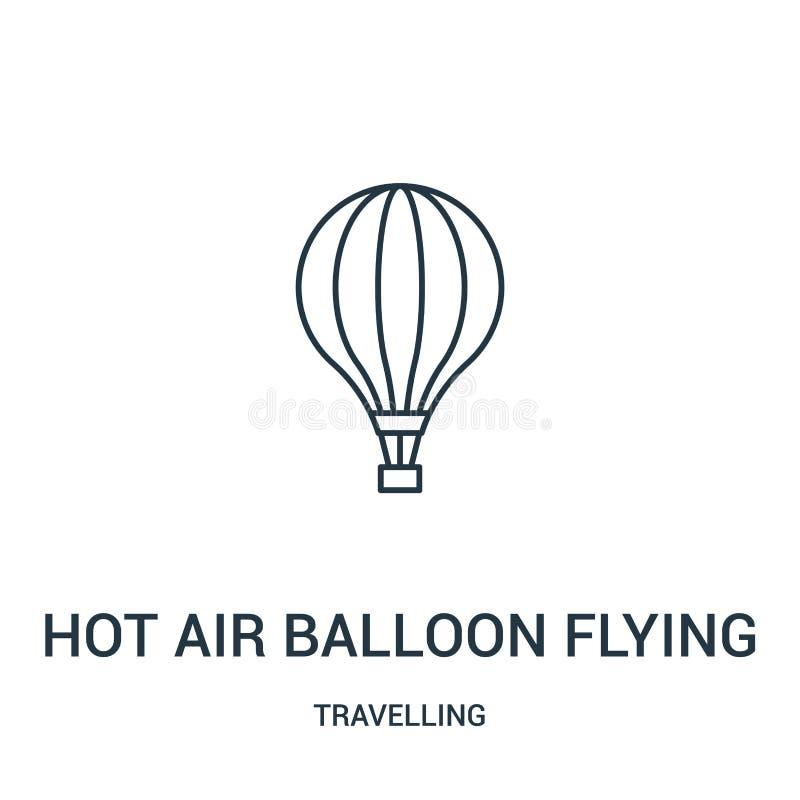hete luchtballon het vliegen pictogramvector van reizende inzameling Dunne van het de ballon vliegende overzicht van de lijn hete stock illustratie