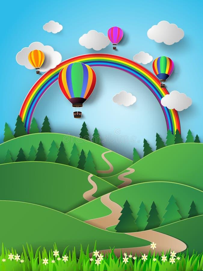 Hete luchtballon hoog in de hemel met regenboog Vector illustratie stock illustratie