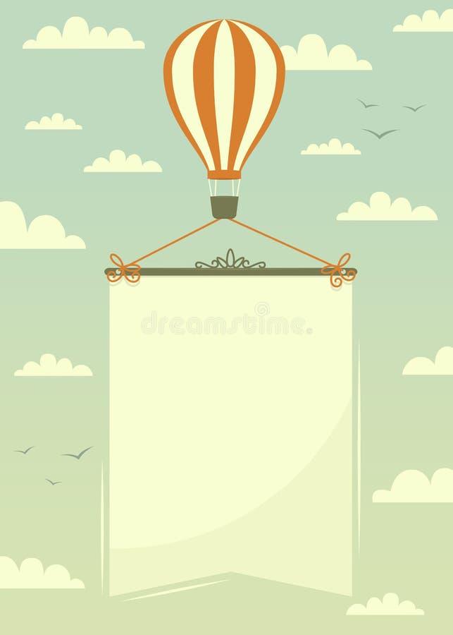 Hete luchtballon met banner vector illustratie