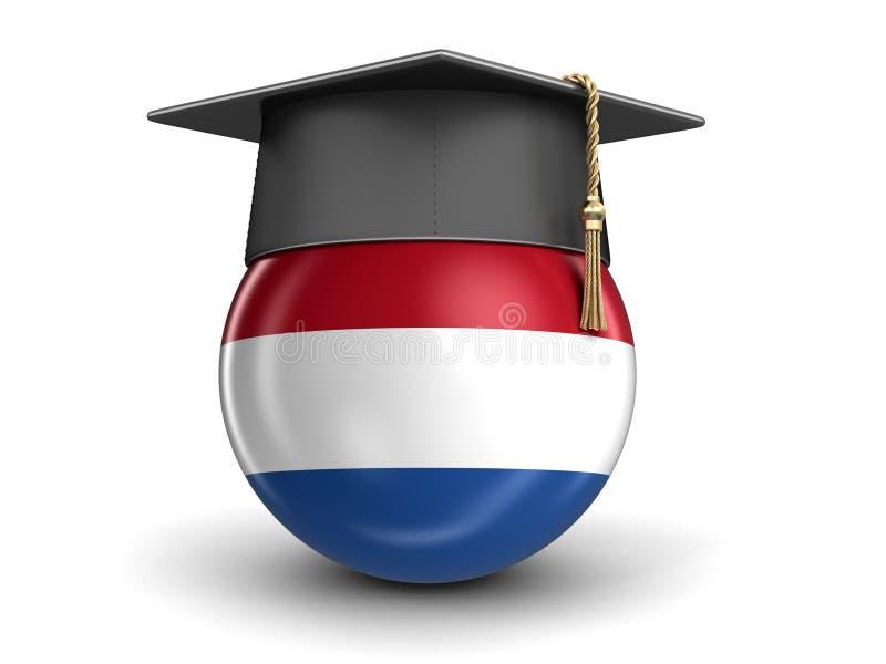 Hete Luchtballon met de Vlag en Graduatie GLB van Nederland stock illustratie