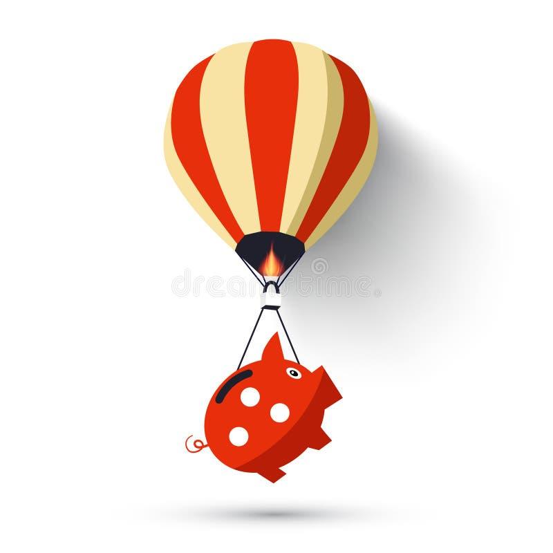 Hete Luchtballon met Spaarvarken stock illustratie
