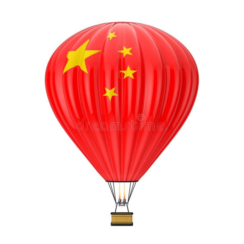 Hete Luchtballon met Vlag van China het 3d teruggeven vector illustratie