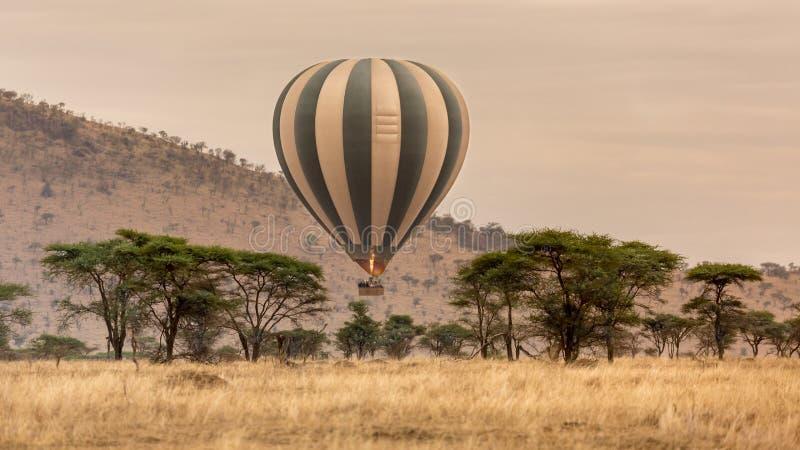 Hete luchtballon over serengeti royalty-vrije stock afbeelding